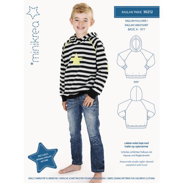 30212 Raglan trøje str. 4 til 10 år. Minikrea